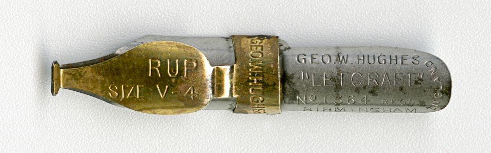GEO.W.HUGHESL LETCRAFT №1364 Regd RUP SIZE V.4 BIRMINGHAM ENGLAND